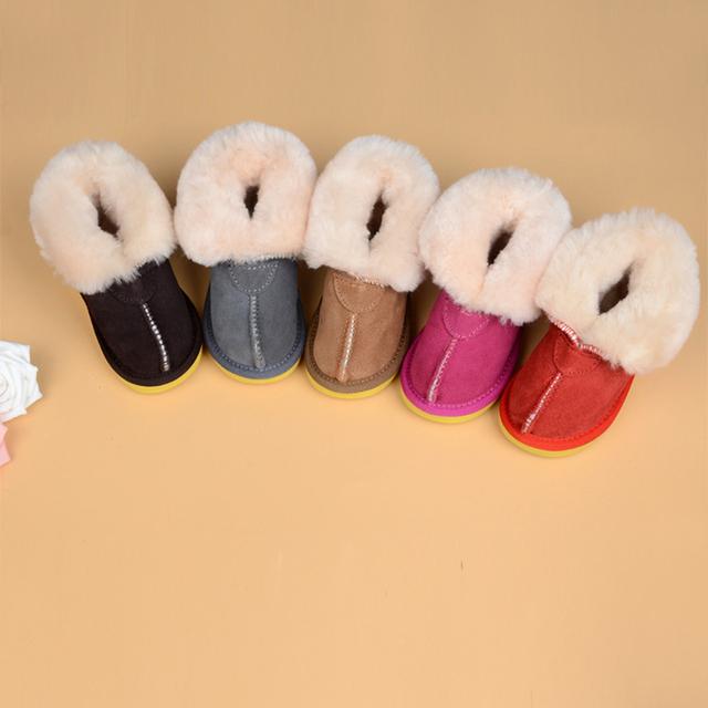Invierno Nuevo Bebé Unisex de Cuero Genuino de Una Suela de Goma Transpirable Color Sólido antideslizante Mantener Caliente Botas de Nieve 2 par/lote