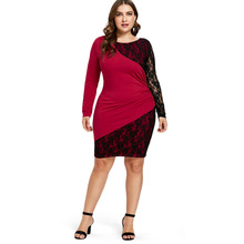 Plus Size Women's Black Red Patchwork Long Sleeve Dress