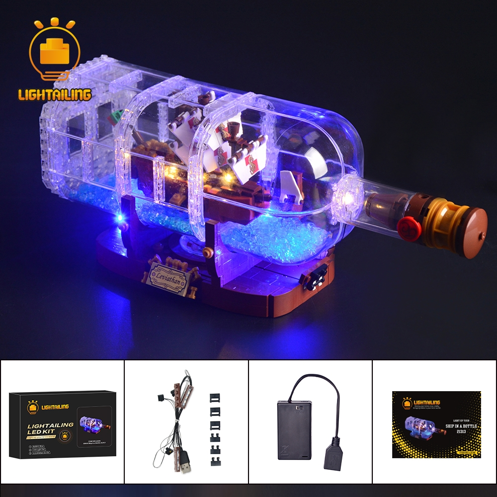 LIGHTAILING LED Light Kit For Ideas Series The Ship In A Bottle Set Building Blocks Light Set Compatible With 21313 And 16051 in stock 16051 1078pcs creative series the ship in the bottle lepin building blocks brick toy compatible with lego 21313 model
