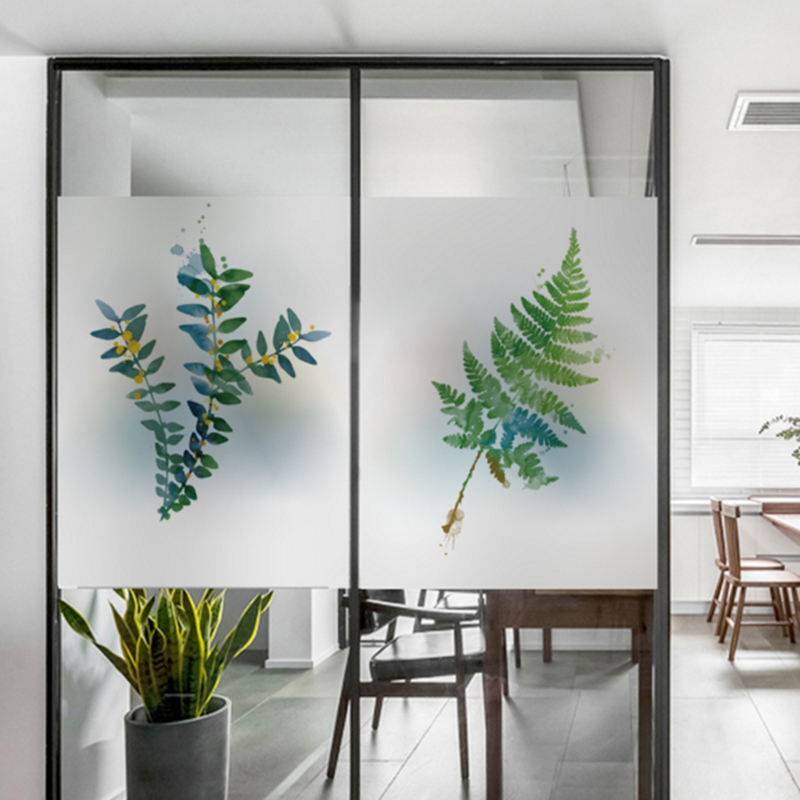 Frosted glass stickers Ins Nordic plants Bathrooms balcony door windows electrostatic transparent opaque film in Wall Stickers from Home Garden