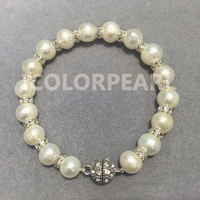 WEICOLOR 9 10mm White Natural Freshwater Pearl Bracelet With Shiny Crystal on Elastic Or Magnet Clasp.
