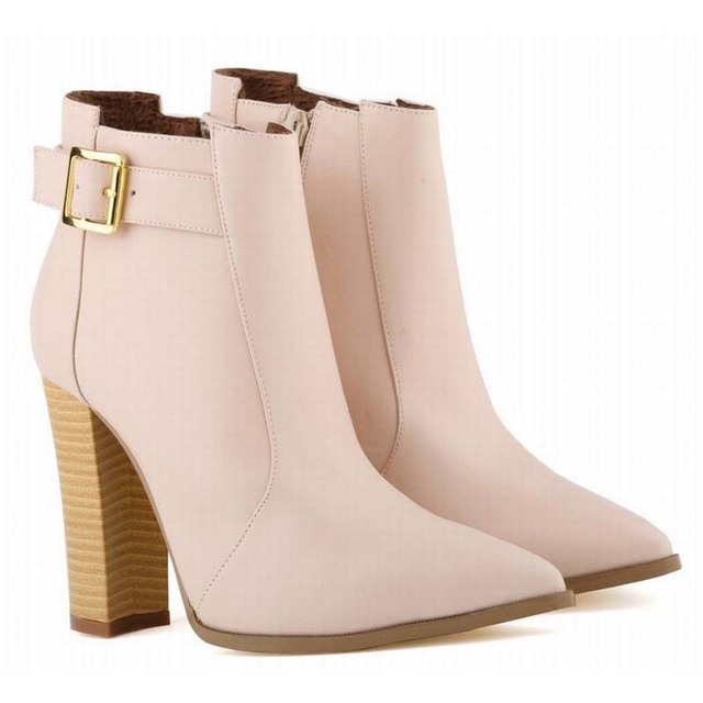 Women Ankle Boots High Heels Buckle Pointed Toe Shoes