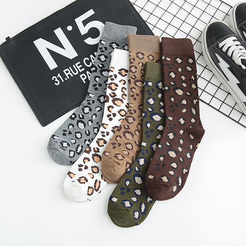 10Pcs=5Pairs/Lot Leopard Print Socks Women Autumn Winter Korean Warm Pure Cotton Socks Set Streetwear Mid-Tube Socks Chaussettes