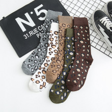 10Pcs=5Pairs/Lot Leopard Print Socks Women Autumn Winter Korean Warm Pure Cotton Set Streetwear Mid-Tube Chaussettes