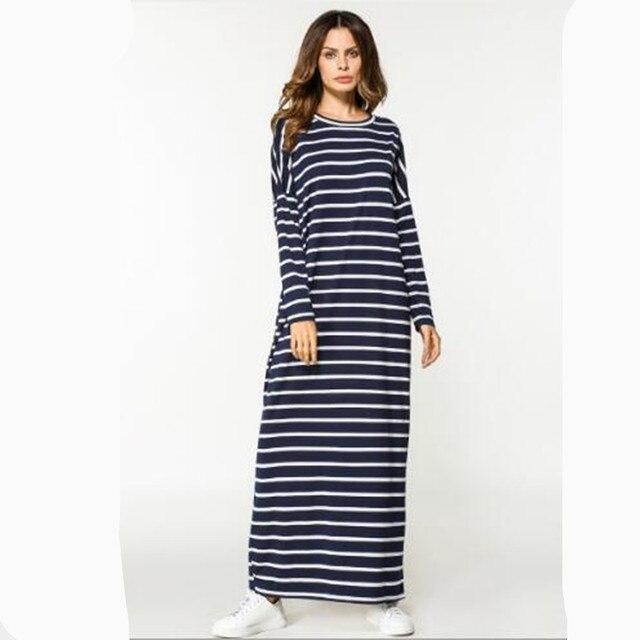 26141a36ef Maxi Dress Stripe Cotton Middle East Abaya Shirt Loose Style Muslim Robe  Moroccan Burka Kimono Kaftan Islamic Arab Dubai QC554