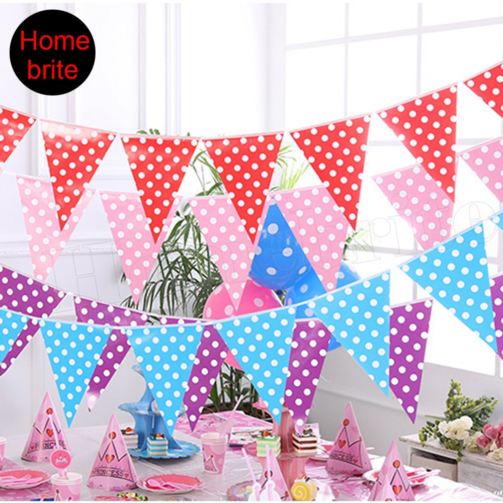 aliexpress com buy colorful pennant banner polka dot 10 flags