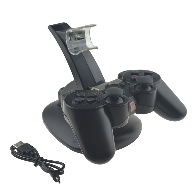 Dual Charger For PS3 Ladestasjon + USB-kabel For Sony PlayStation 3 Controller Console Gratis frakt