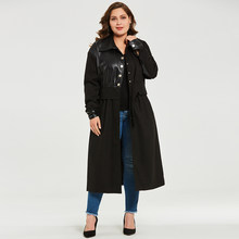d91a2ef3711 Plusee Coat Plus Size 3XL 4XL Women Solid Straight Long Sleeve Lapel Single-Breasted  Plain Patchwork Belt Button Plus Size Coat