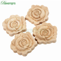 Bowarepro Rose Floral Wood Carved Decal Corner Flower Wall Door Closet Furniture Decorative Figurines Crfts Accessories
