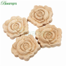 bowarepro Rose Floral Wood Carved Decal Corner Flower Wall Door Closet Furniture Decorative Figurines Crfts Accessories 7CM 4pcs