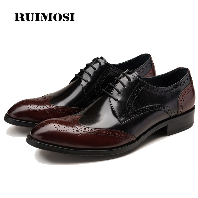 RUIMOSI Pointed Toe Brand Man Formal Dress Shoes Vintage Genuine Leather Brogue Oxfords Men's Wing Tip Wedding Bridal Flats OD85