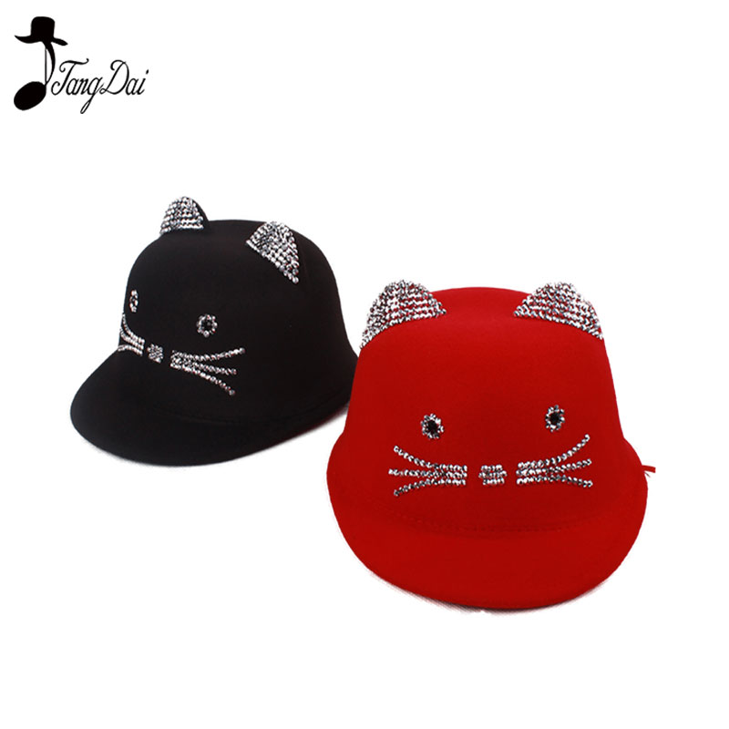 bd3f6b3f5 Aliexpress.com : Buy Cat Ear New Lovely Kids Boys Girls Cute Cat Ear Fedora  Solid Bowler Cap Wool Felt Hat from Reliable Men's Fedoras suppliers on  TD-E ...