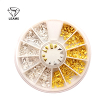 цена на 1 Box 3D Gold/Silver Mixed Size Alloy Various Shapes Nail Art Accessories Decoration Nail Stickers Nails Salon Supplie Wheel