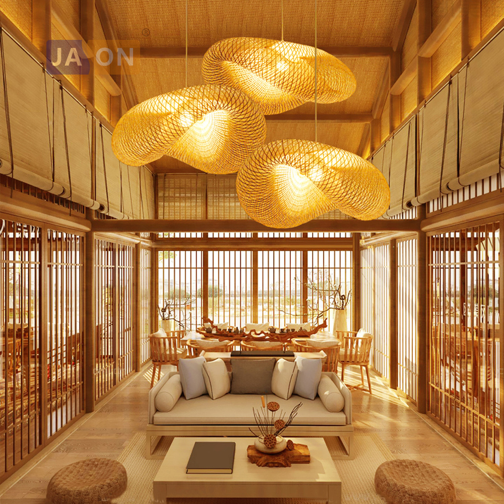led e27 Chinese Bamboo Iron Wood Chandelier Lighting Lamparas De Techo Suspension Luminaire Lampen For Foyer Bedroom