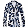 2016 Новая Мода Случайные Люди Рубашка С Длинным Рукавом Печати Футболка Плюс Размер Slim Fit Рубашки Платья J6503