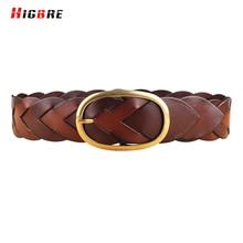 HIGBRE Wide Elastic Belts 100 Cowhide Genuine Leather Belt Luxury Women High Quality Pin Buckle Belts Designer Weave Cinturones