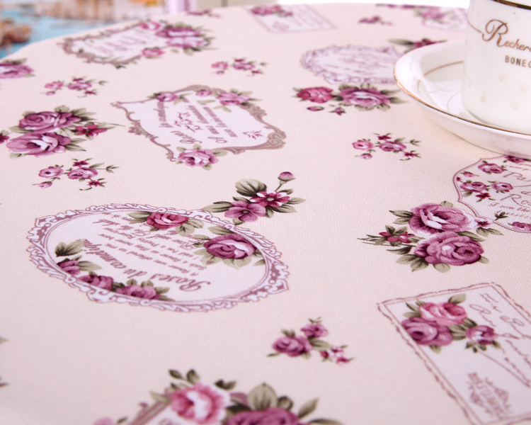 Purple court banquet fabric garden wedding rose vintage tablecloth flower European Multisize Restaurant pastoral Violet