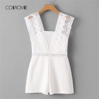 COLROVIE Lace Crochet Strap Embroidery Hollow Out Romper 2018 New Summer White Sleeveless Rompers Straight Leg