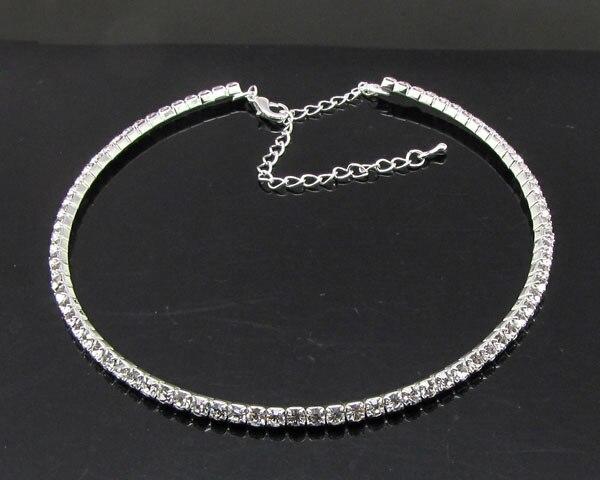 2017 Hot Sale Real Women Maxi Necklace Collier Collares Wedding Bridal Bridesmaids Diamante Crystal Necklace Choker Chain 1 Row