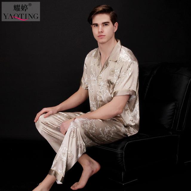 Mens De Satén de Seda Pajamas Set Pijama pijama Camisón 2 Unids Hombres ropa de Dormir Ropa de Dormir Camisón Batas de baño Para Hombres TZ033