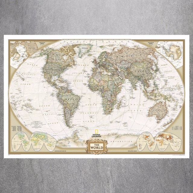 Vintage Large World Map Canvas Art Print Painting Poster Wall ...
