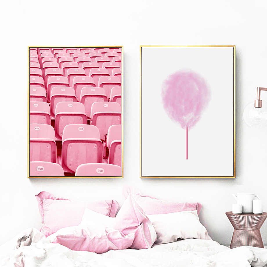 Girls Room Decor Picture Pink Cotton Candy Playground Posters Nordic Style Kids Decor Wall Art Canvas Painting For Living Room