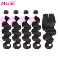 Mealid Peruvian Hair Bundles With Closure bodywave 4 Bundels with Closure Natural Color Non remy Human Hair Bundles With Closure