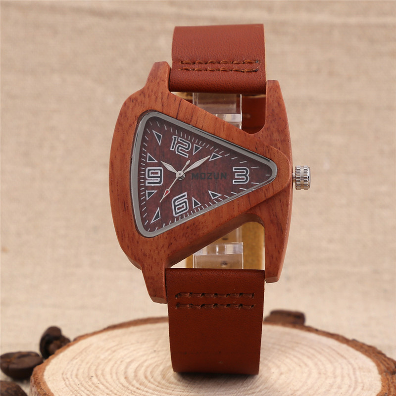 2016 Men s Red Black Sandalwood Wooden Wristwatches Genuine Cowhide Leather Band Luxury Wood Watches for