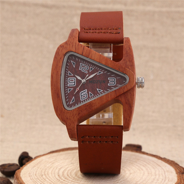2016 Men's Red/Black Sandalwood Wooden Wristwatches Genuine Cowhide Leather Band