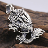 Handmade 925 Silver Dragon Pendant vintage sterling silver Cross Dragon Power Amulet Pendant Good Luck Amulet