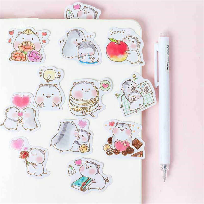 45Pcs//box Cartoon Hamster Stickers DIY Scrapbooking School Office Supplies New