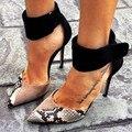 Moda Vestido de Pele De Cobra Sapatos de Salto Stiletto Pontas Do Dedo Do Pé das Mulheres Bombas com fivela Mulher EU34-43 Grandes Sapatos Tamanho Das Mulheres