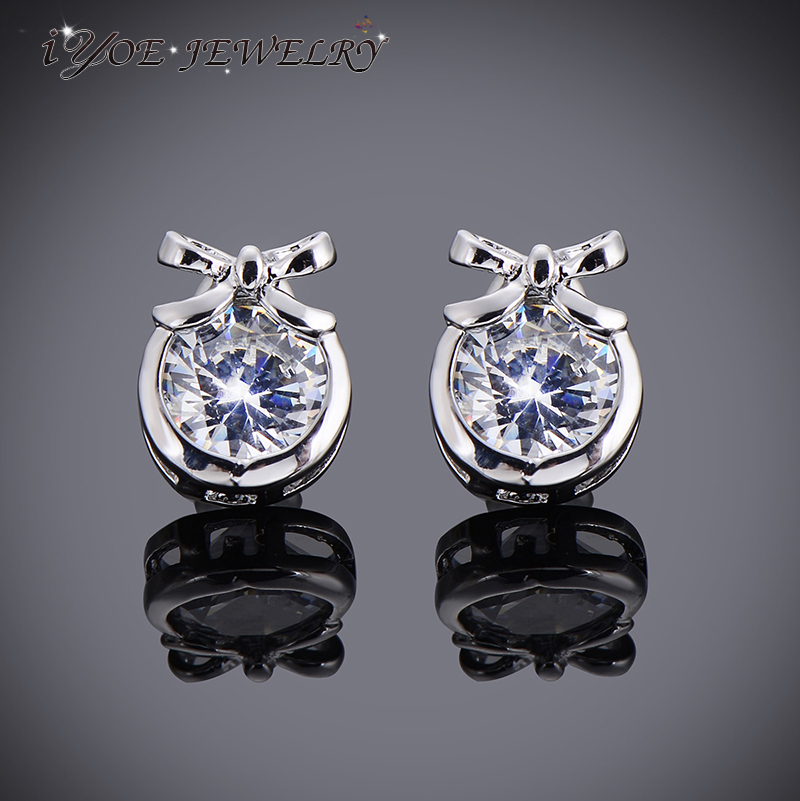 Iyoe Price Simple Design Austrain Crystal Bow Stud Earrings For Women Wedding Party White Gold Color Ear Jewelry In From