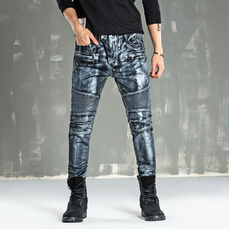 slim straight youth city fashion playing nail jeans washing autumn and winter models men trousers ripped jeans for men b136 2017 European and American ripped jeans for men trousers paint printed jeans personality mens straight slim denim pants cotton