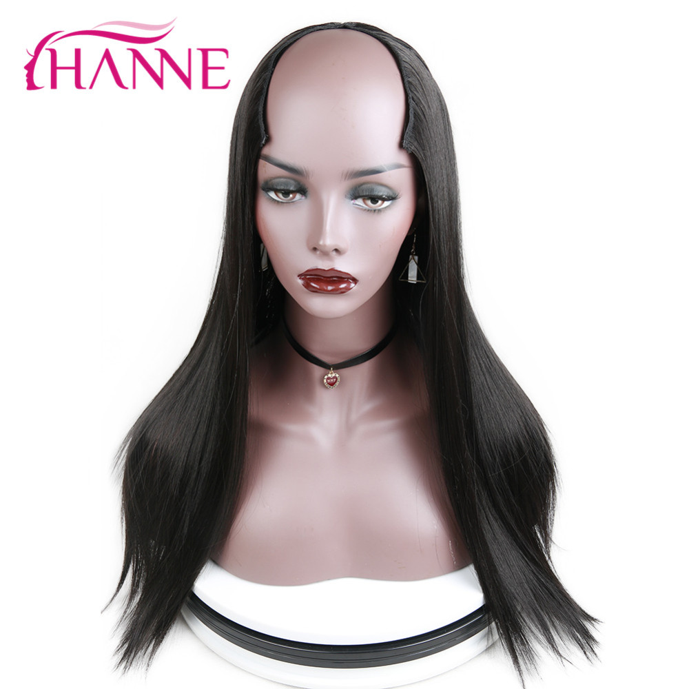 HANNE U Part 7 Clips In Long Straight Hair Synthetic Women Wig Pure Or Ombre Brown/Blue/Blonde/Grey/Black Cosplay Classic Wigs