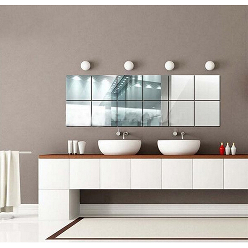 Square Mirror Tile Wall Sticker 3D Mosaic Decal Home Room Decoration Stickers For DIY Bath