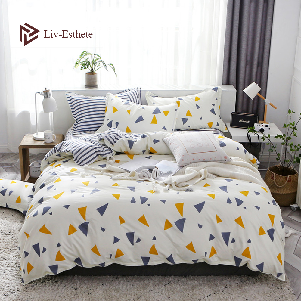Liv Esthete Fashion Geometric Bedding Set Color Duvet Cover Flat Sheet Bedclothes Single Double Queen King Bed Linen For Adult in Bedding Sets from Home Garden