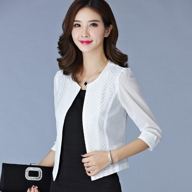 Women Black White Gauze Jacket Summer 2016 Chiffon Cardigan Sexy 3/4 Sleeve Plus Size Slim Jackets Office Lady Coat Tops A385