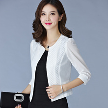 Women Black White Gauze Jacket Summer 2017 Chiffon Cardigan Sexy 3/4 Sleeve Plus Size Slim Jackets Office Lady Coat Tops A385
