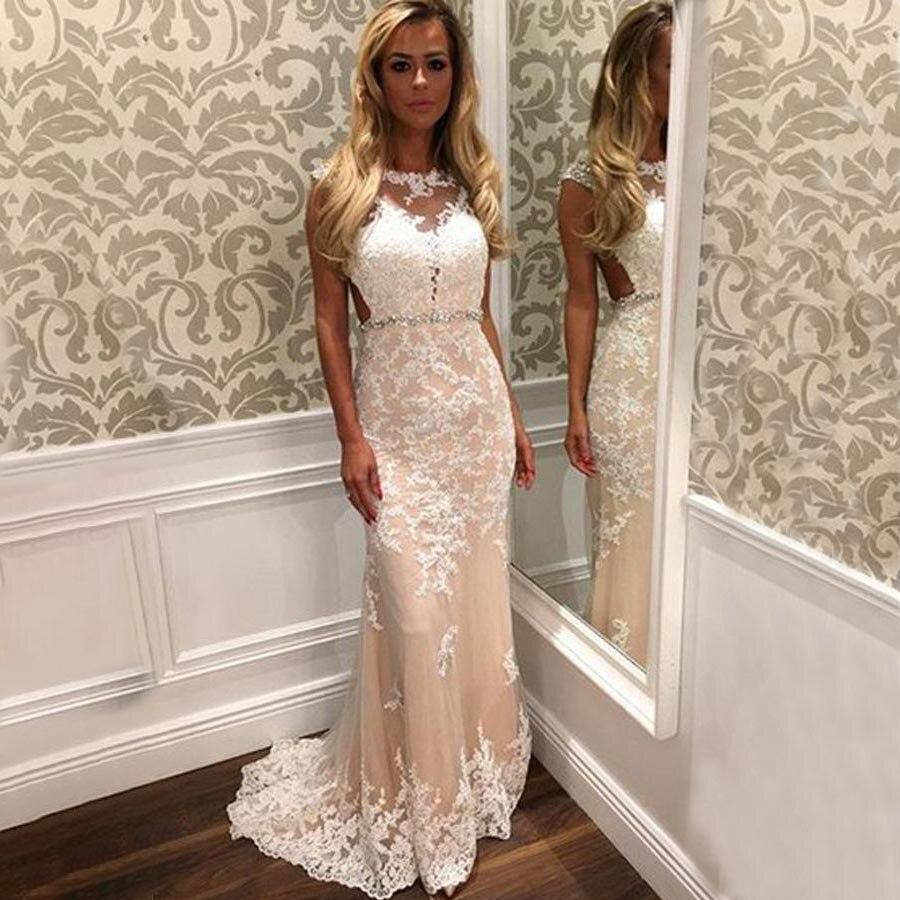 Scoop Long   Prom     Dresses   Sleeveless Applique Illusion Sweep Train Evening Formal Party   Dress   with Beading Belt Vestido De Fiesta