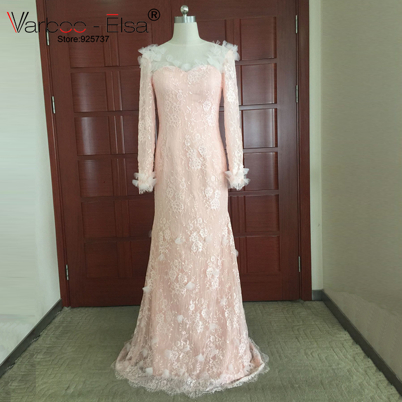 Varboo elsa hot sheer long sleeve sweetheart buttons back for Aliexpress mermaid wedding dresses
