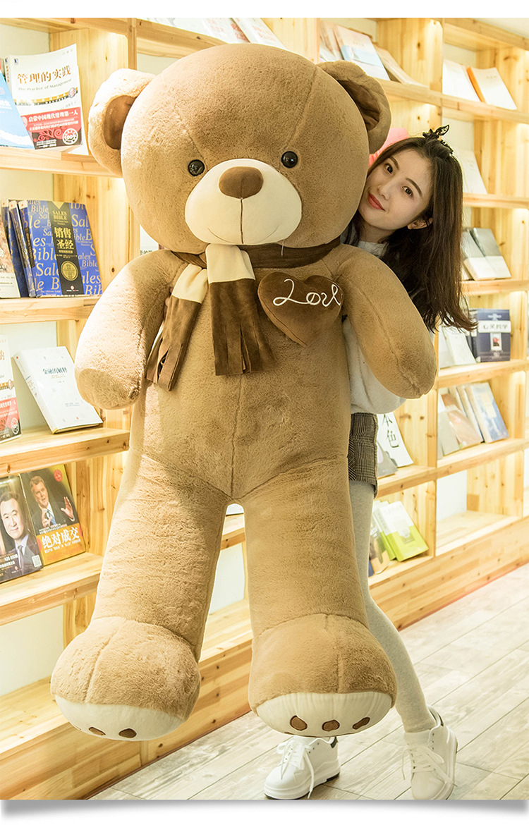 stuffed plush toy huge 160cm scarf teddy bear,brown bear soft doll hugging pillow,birthday gift s2811 stuffed toy lovely scarf teddy bear plush toy huge size 170cm dark brown bear hugging pillow surprised christmas gift h448