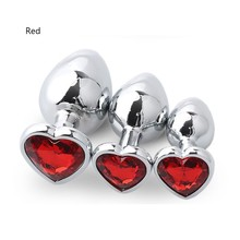 S/M/L Size Crystal Diamond Love Heart Shape Anal Safe Plug Stainless Metal Steel Butt Plug Anal Waterproof Adult Sex Toys