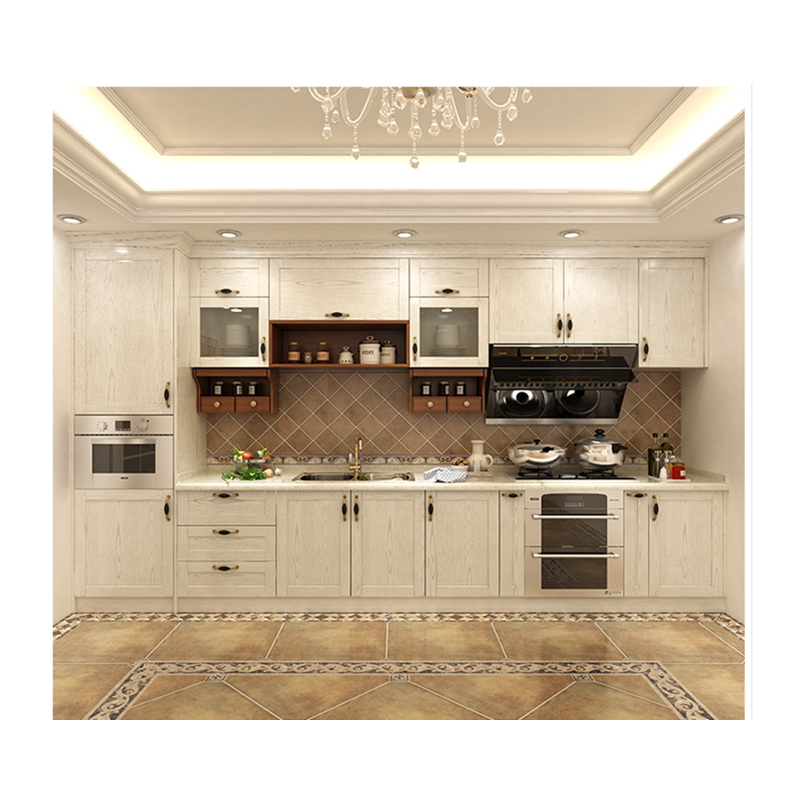 Factory Outlets Modern Island Designs Cheap Solid Wood White Color Kitchen Cabinets