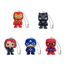 20pcs PVC Keychain Cartoon Figure Marvel Avenger Key Chains Anime Hulk Batman Ring Super Hero Holder