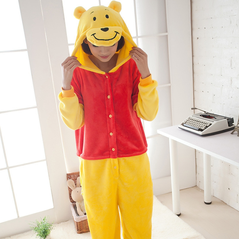 Adults Animal   Pajamas     Sets   Cartoon Sleepwear Cosplay Zipper Women Men Winter Unisex Flannel Winnie bear   Pajamas