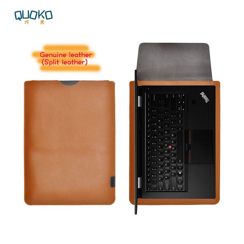 Arrival selling ultra thin super slim sleeve pouch cover Genuine leather laptop sleeve case for Lenovo