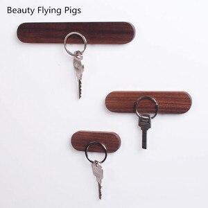 الخشب مفتاح حامل جدار مفتاح التخزين المنظم مفتاح مغناطيسي قوي رف شماعات حلقة رئيسية السنانير كاتب مدبرة على جدار