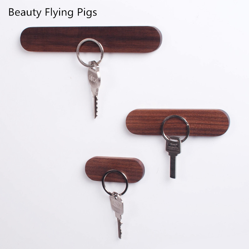 Wood Key Holder Wall Key Storage Organizer Strong Magnetic Key Rack Hanger Key Ring Hooks Clerk Housekeeper On The Wall