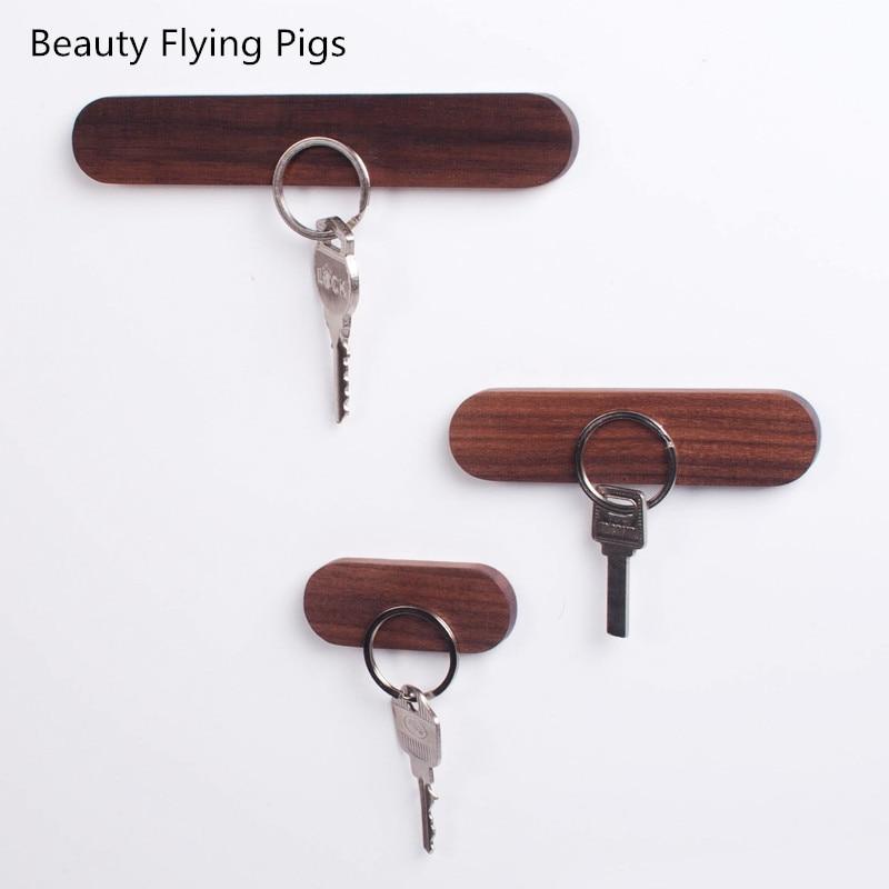 Wood Key Holder Wall Key Storage Organizer Strong Magnetic Key Rack Hanger Key Ring Hooks Clerk Housekeeper on the wall